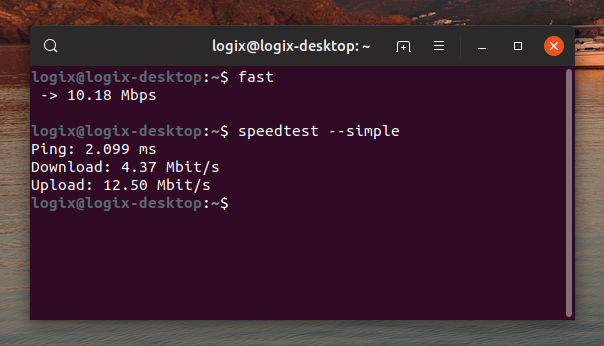 Command line Internet speed test