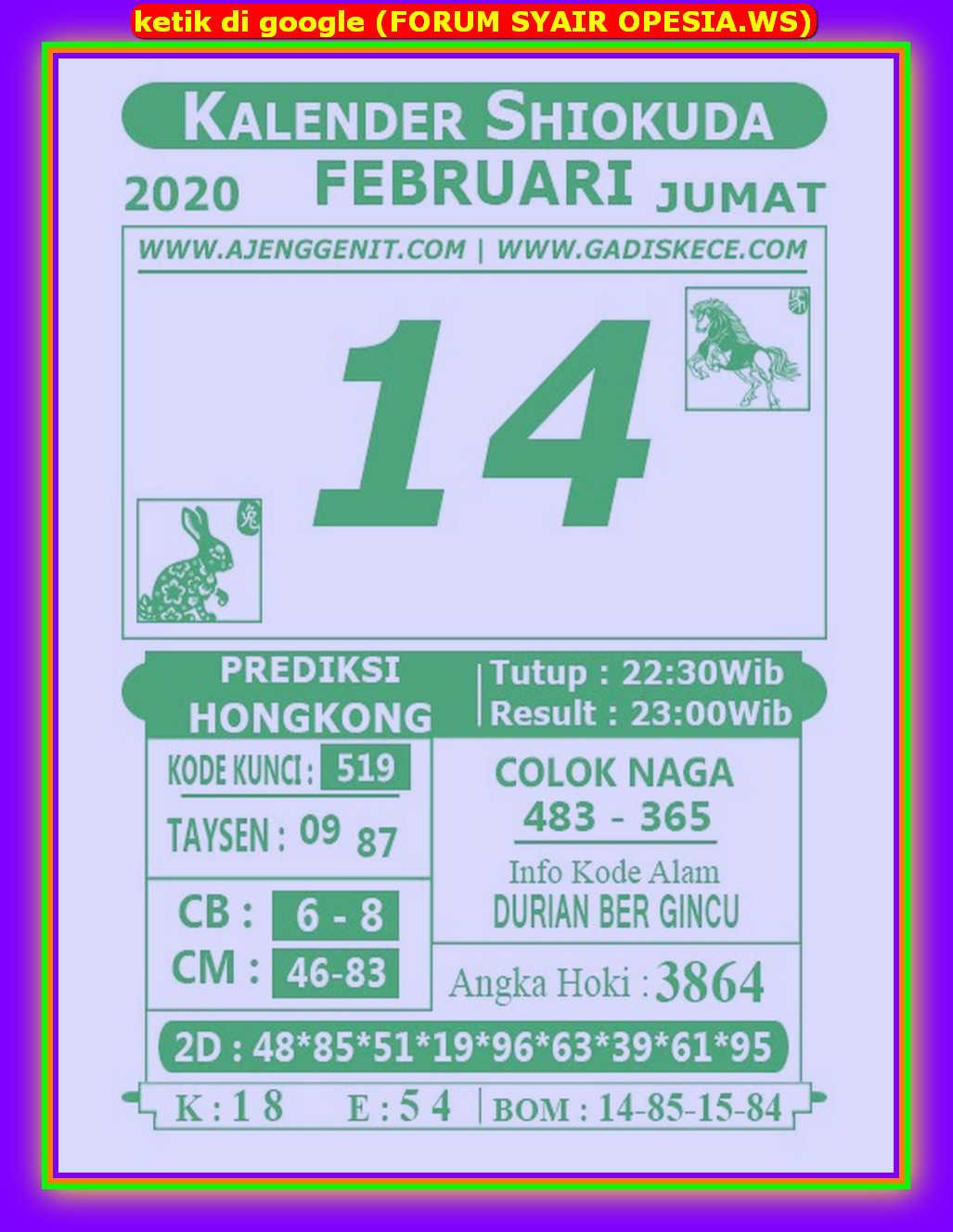 Kode syair Hongkong Jumat 14 Februari 2020 111