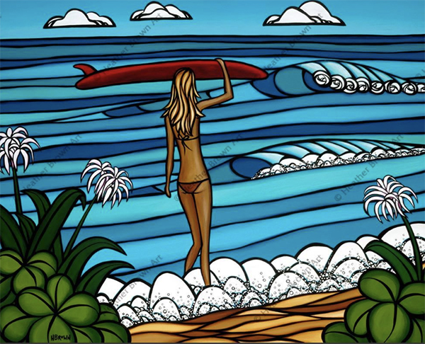 girl surfer approaching the waves on North Shore Oahu by heather brown modern surf art