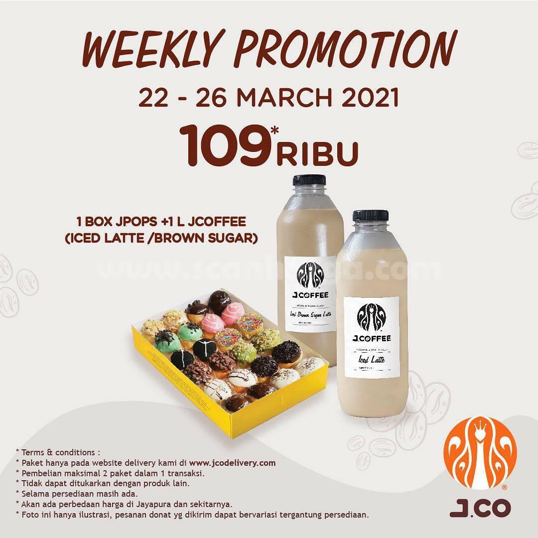 JCO Promo 1 box JPOPS + 1 L JCOFFEE hanya Rp 109.000