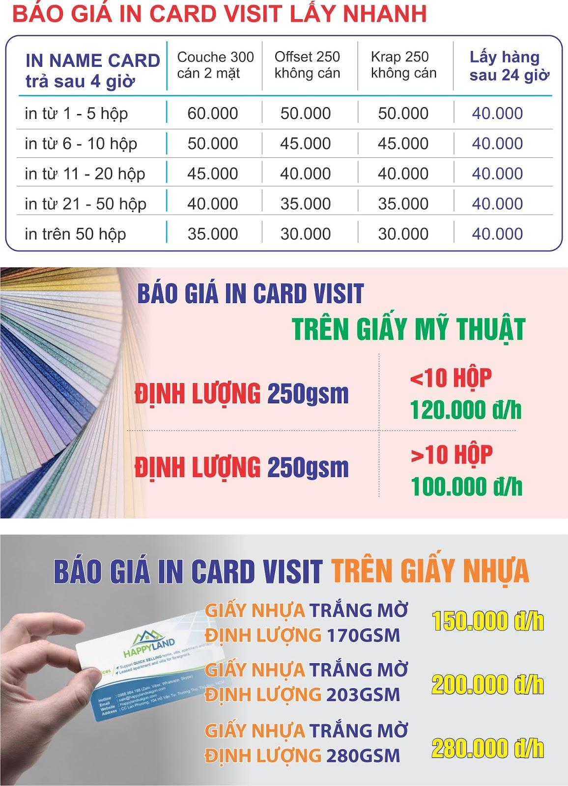 In card visit lấy nhanh