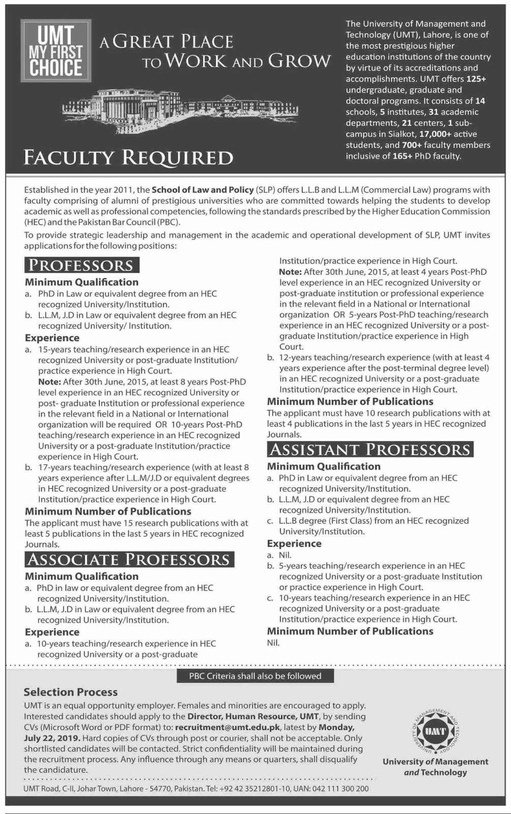 Advertisement for the University of Management and Technology Jobs