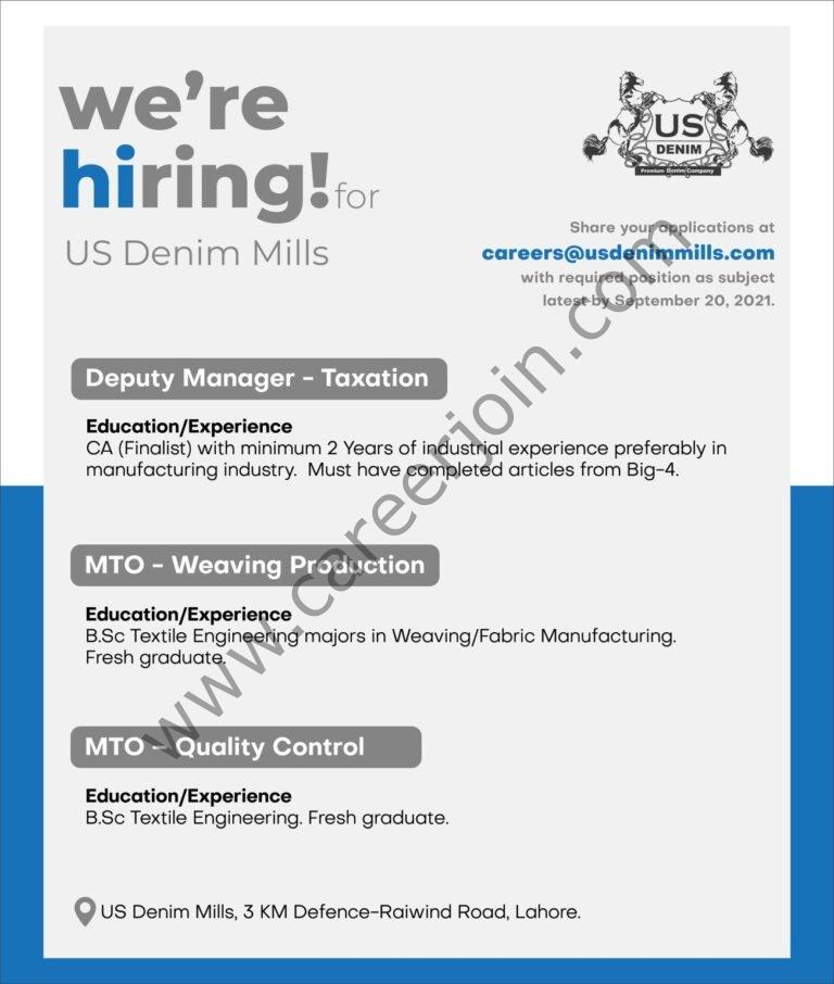 careers@usdenimmills.com - US Group Jobs 2021 in Pakistan