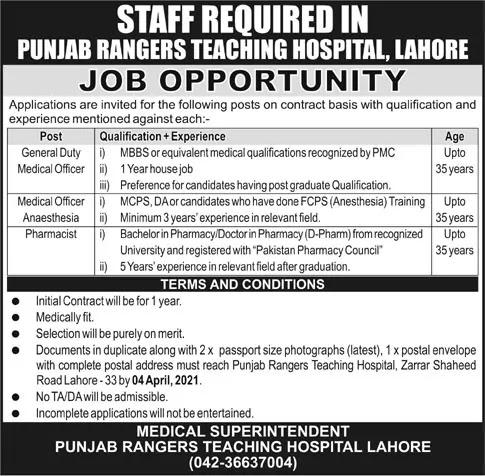 Medical Jobs at Punjab Rangers Teaching Hospital Lahore 2021
