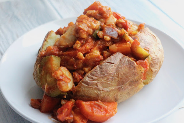 Smoked butter bean stew with baked potato