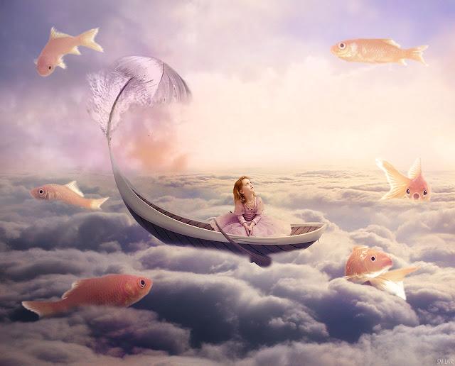 Создаем фантастическую сцену с рыбками над небом