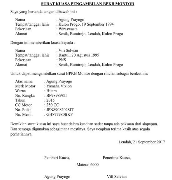 Contoh Surat Kuasa Pengambilan BPKB Mobil-Motor, Lengkap!