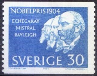Sweden 1964 MNH, Nobel Winners Mistral, Echegaray Literature, Rayleigh Physics