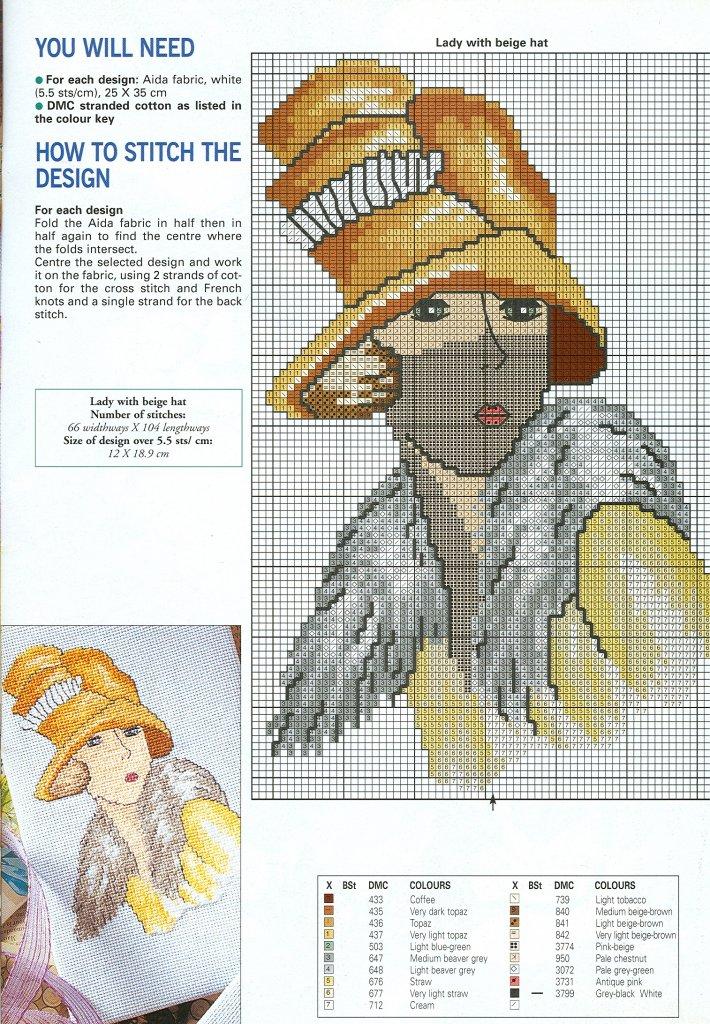 4 Damas a punto de cruz | Nuevos gráficos gratis