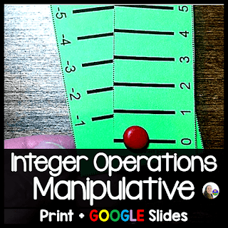 Integer Operations Manipulative - print and digital for distance learning