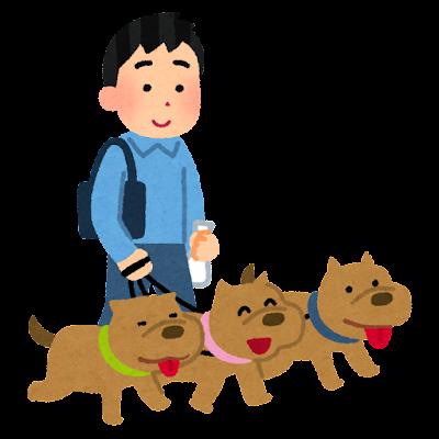 犬の多頭飼いのイラスト(男性)