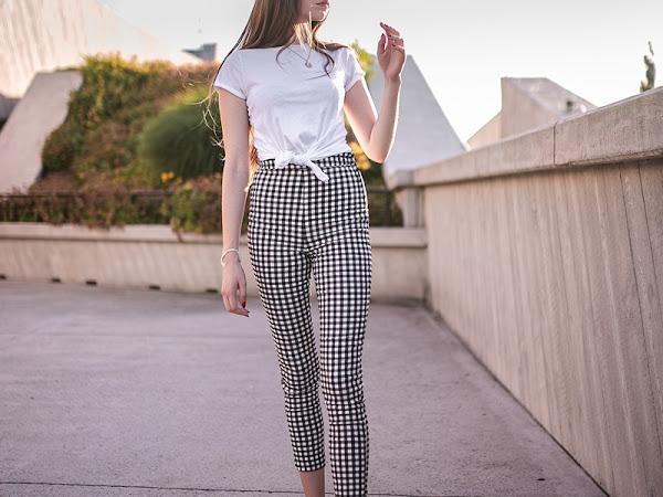 326. Stylizacja: spodnie w kratę w miejskiej odsłonie