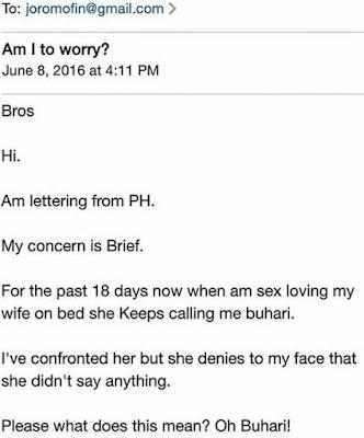 "Wife calls husband ""Buhari"" during love making"