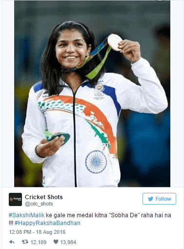 Cricket Shots Tweet on Sakshi Malik
