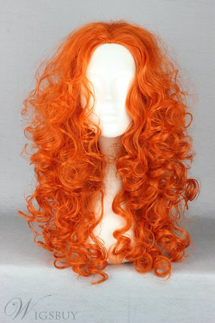 Japanese Brave Legend Merida Character Orange Cosplay Wigs 22 Inches