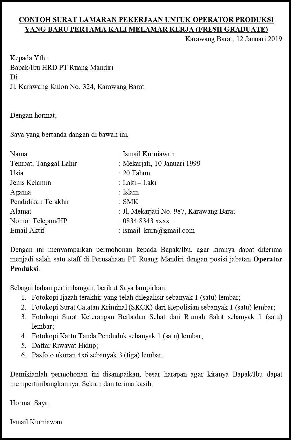 Contoh Surat Lamaran Pekerjaan Untuk Manufaktur Dan Gudang Tanpakoma