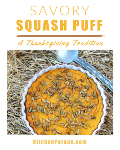 Squash Puff ♥ KitchenParade.com, an old family recipe traditional at Thanksgiving, a welcome savory make-ahead casserole, just creamy winter squash topped with pumpkin seeds. Rave reviews! Weight Watchers Friendly. Vegetarian.