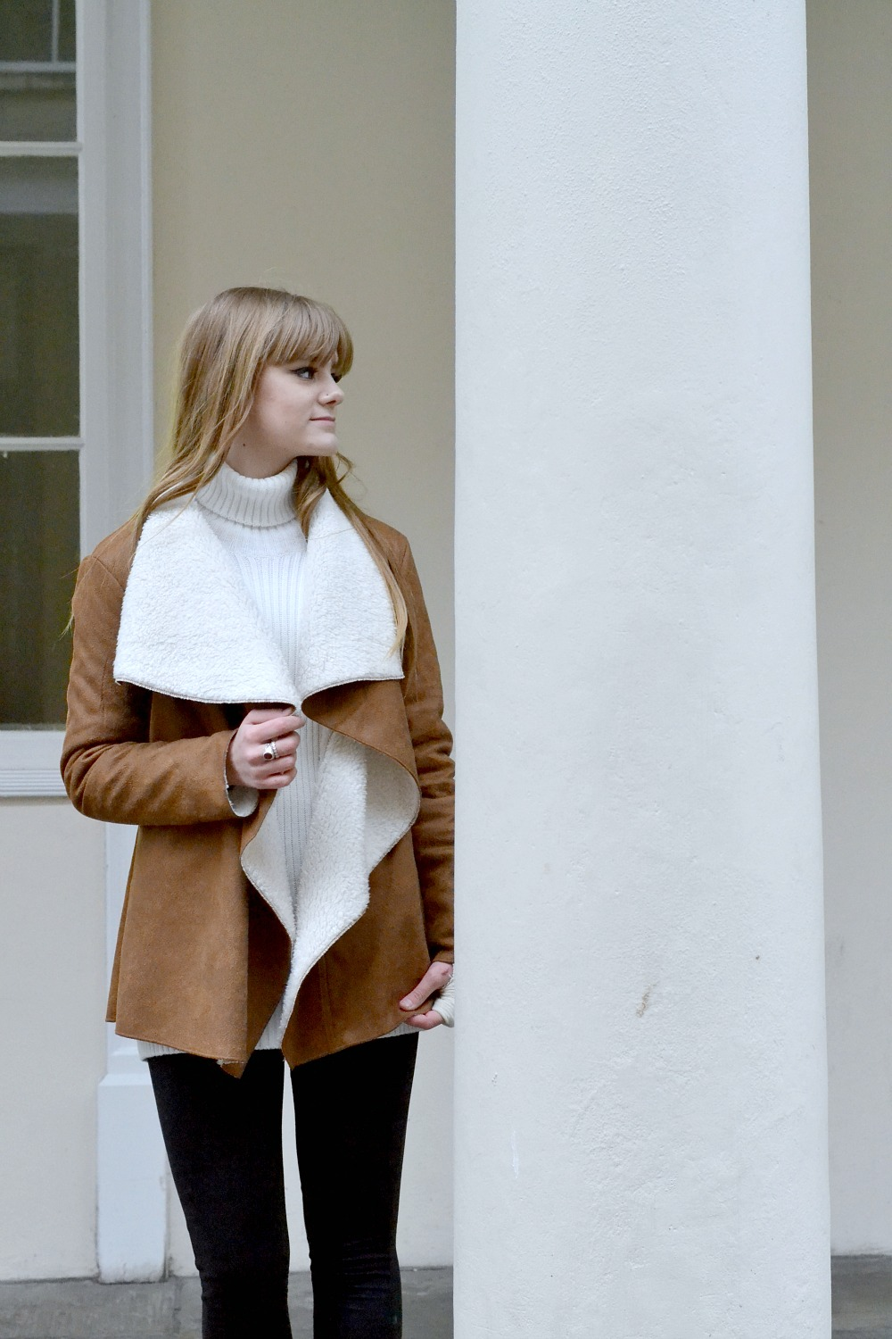 Tan and White Suedette Faux Shearling Jacket
