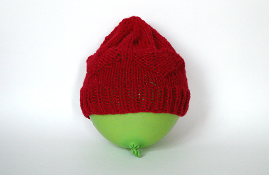 Red Knit Hat with Heart Details