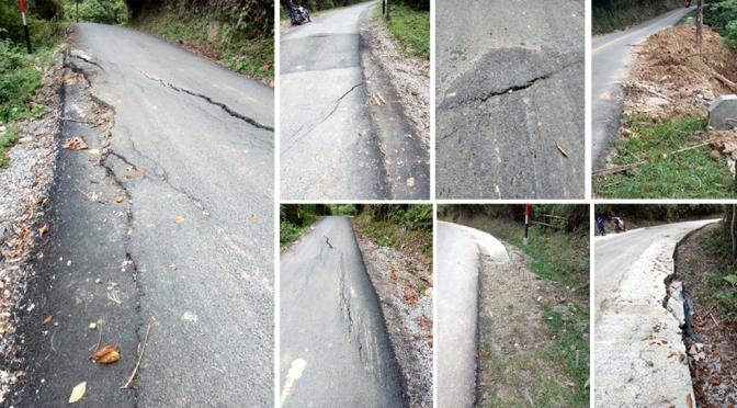 Pengerjaan Jalan Muaro Silokek di Kabupaten Sijunjung seperti asal-asalan, ini dibuktikan dengan banyaknya ruas jalan yang rusak