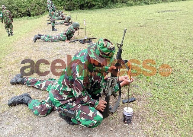 Asah Kemampuan Prajurit, Kodim 0119/Bener Meriah Laksankan Latihan Menembak