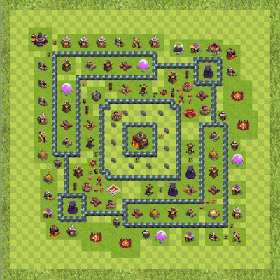 War Base Town Hall Level 10 By funnydemon2166 (Blew TH 10 Layout)