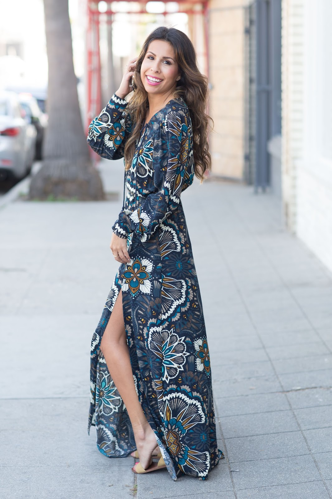 how to wear maxi dress with flats, h & m spring dress, lace-up dress