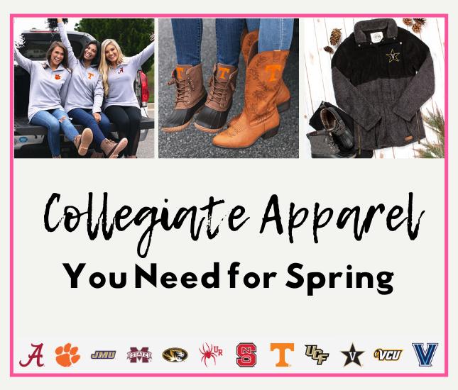 spring apparel with collegiate logos