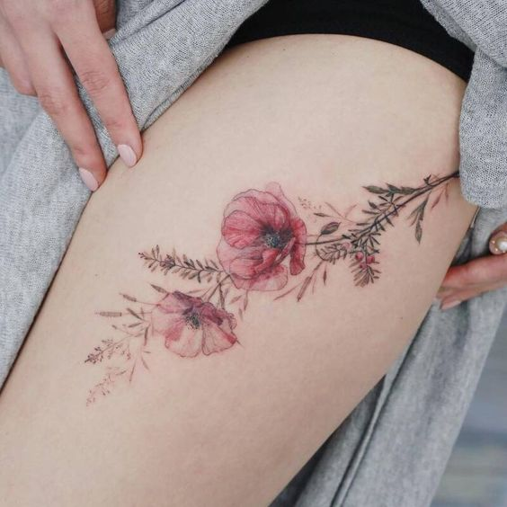 What is the meaning of the poppy flower tattoo pattern