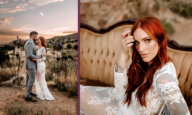 red haired bohemian bride with fringe lace long sleeve wedding gown