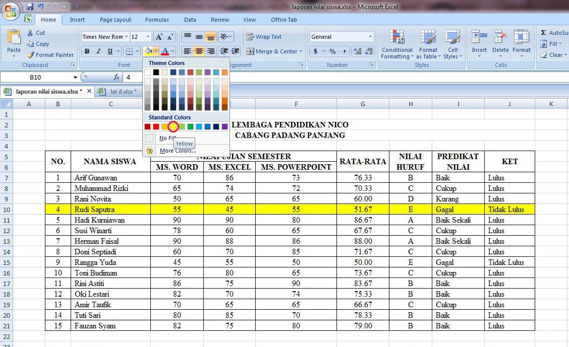 tabel, nilai, rumus, microsoft, excel, if, average, lulus, tidak, laporan, siswa