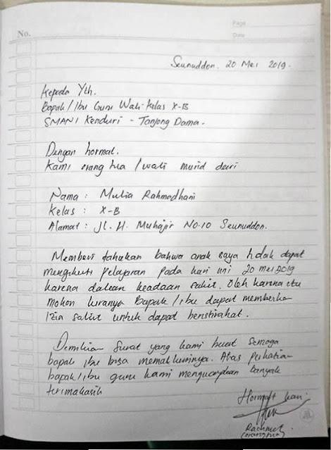 Contoh Surat Izin Sakit Tulisan Tangan SMA (via: contohsurat.co)