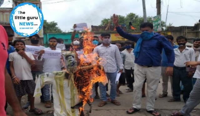 बिहार के मुख्यमंत्री और DGP के खिलाफ अमर्यादित टिप्पणियों के विरोध में शिव सेना सांसद का पुतला दहन