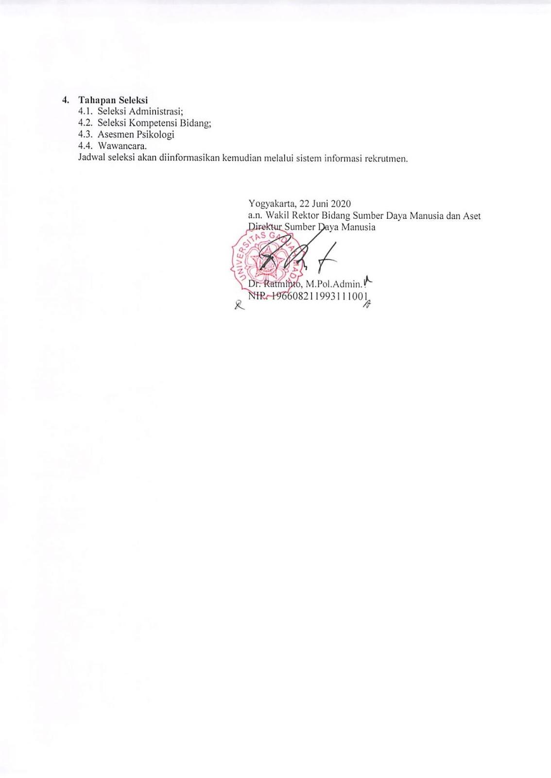 Seleksi Penerimaan Tenaga Kependidikan Tetap Gadjah Medical Center Universitas Gadjah Mada