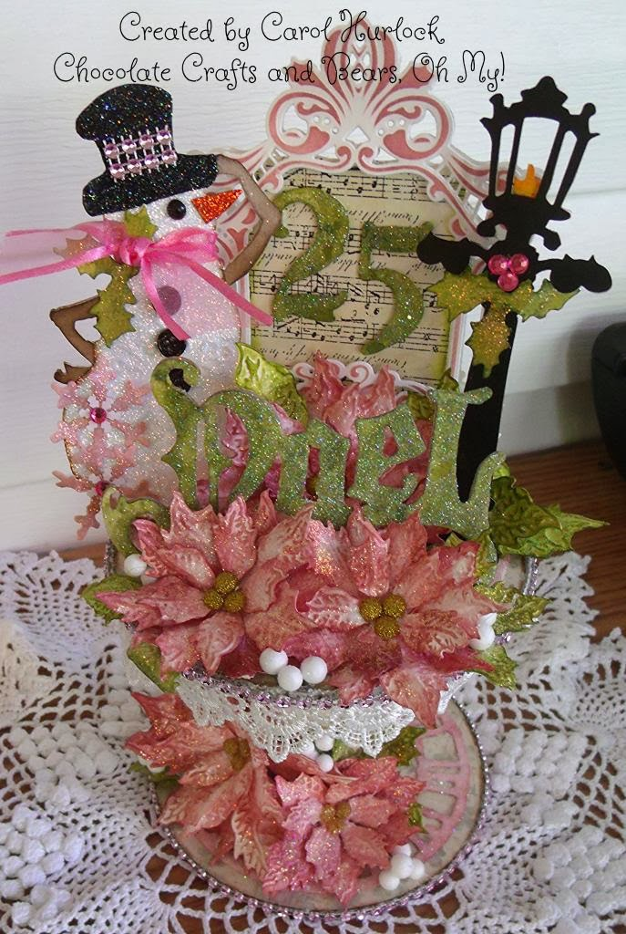 Chocolate Crafts And Bears Oh My Christmas Altered Spool Decoration Featuring Tim Holtz Dies