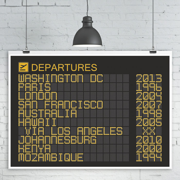 15+ Of The Best Traveler Gift Ideas Besides Actual Plane Tickets - Airport Departures Board Poster