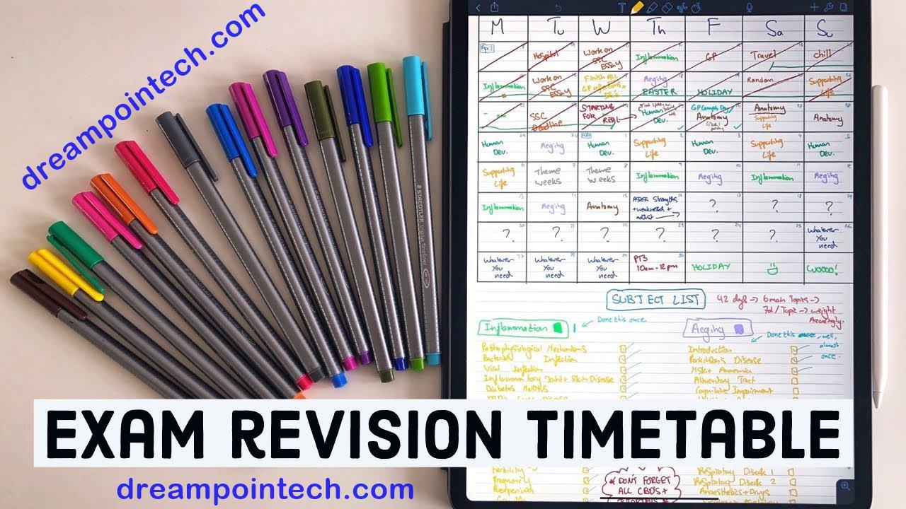 Sample study Calendar Sample Revision Timetable