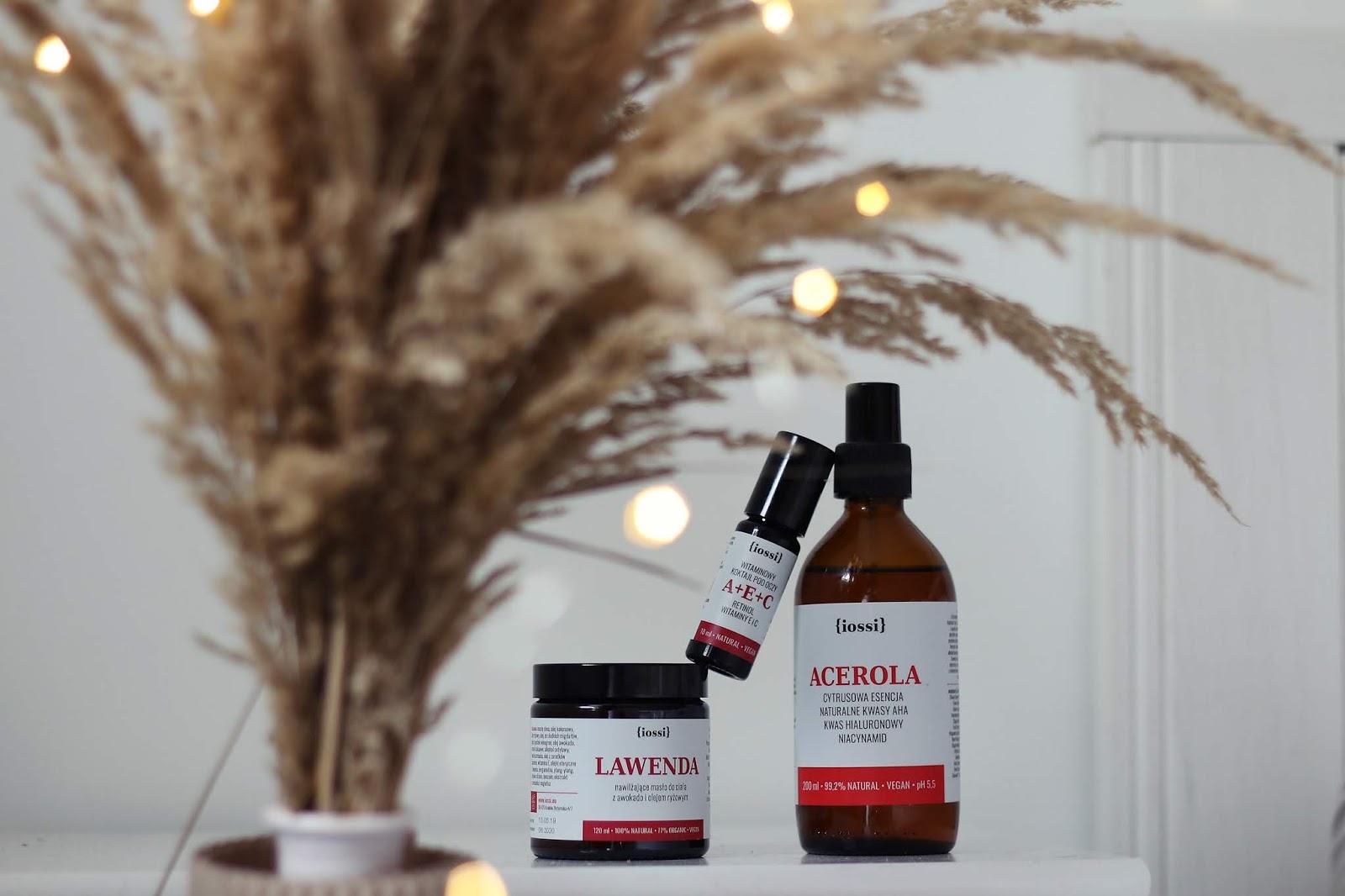 Iossi naturalne kwasy AHA, koktajl pod oczy z retinolem i masło do ciała pachnące świeżą lawendą