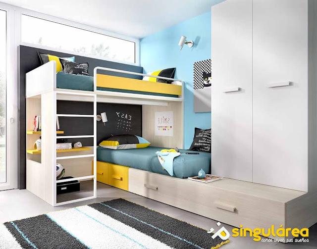 habitacion juvenil moderna con litera en L