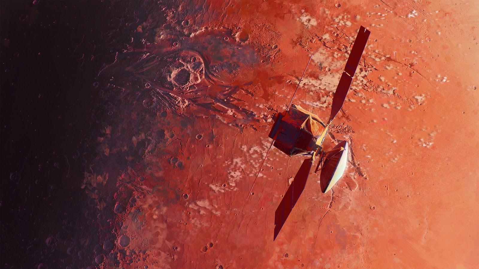 Mars Reconnaissance Orbiter illustration in 1920 x 1080 pixels