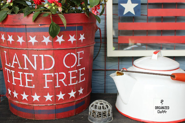 A Patriotic/Fourth of July Stenciled Wooden Planter Bucket #4th #july4th #patrioticdecor #stencil #gardenjunk #junkgarden #containergarden #upcycle