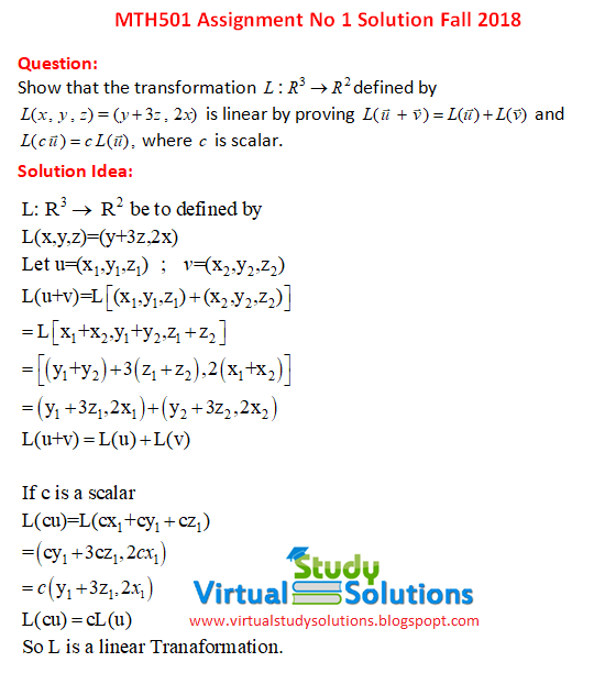 MTH501 assignment No 1 solution sample preview fall 2018