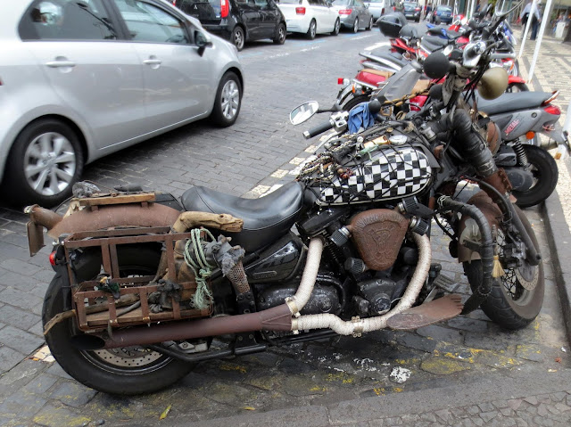 a motorcycle with quirky decor