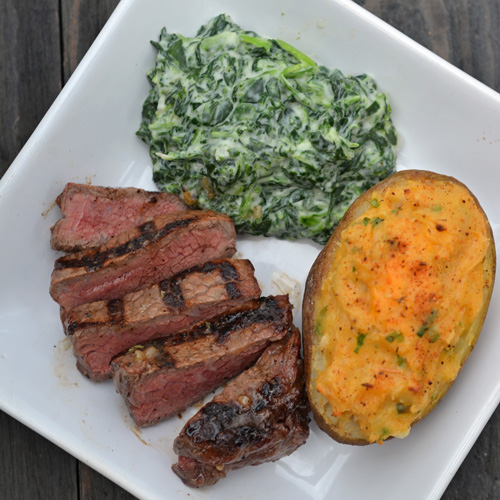 Manhattan Filet with Creamed Spinach and Twice Baked Potato