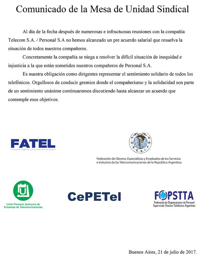 Telefónicos: PARITARIA 2017: Sin acuerdo con Telecom y Personal