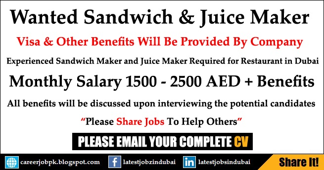 Sandwich and Juice Maker Restaurant Jobs in Dubai