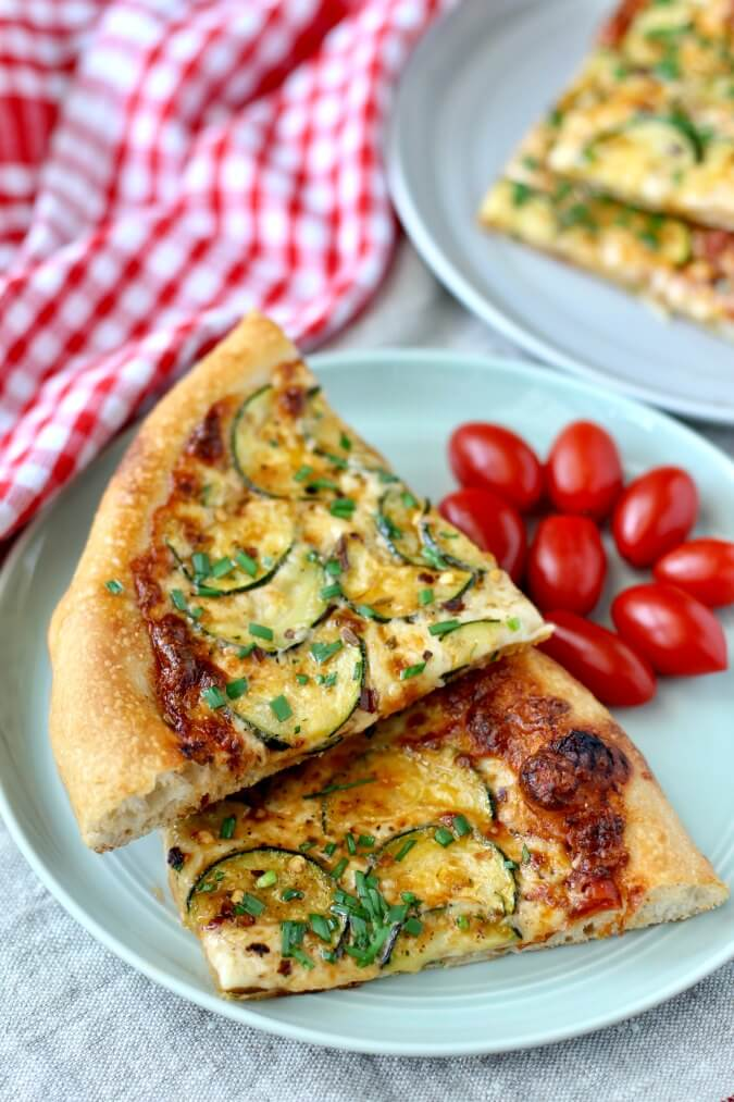 Grilled Zucchini Pizza with mozzarella and chives