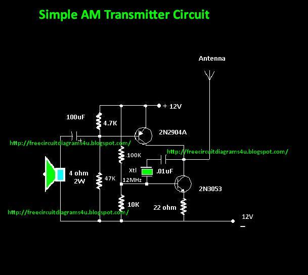 Free Circuit Diagrams 4u  Simple Am Transmitter Circuit