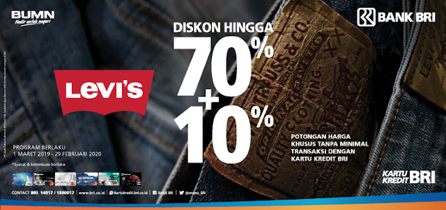 #BankBRI - #Promo Diskon Up TO 70% + Tambahan 10% di LEVI'S (s.d 29 Feb 2020)