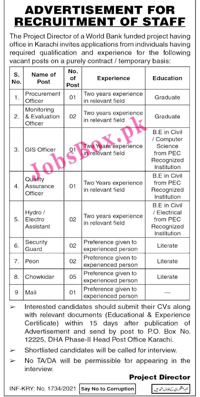 World Bank Funded Project PO Box No 12225 Karachi 2021 Latest New Jobs